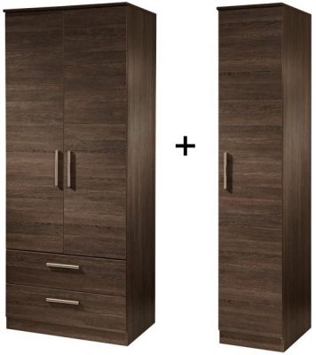 Contrast High Gloss Tall Triple 2 Drawer Wardrobe