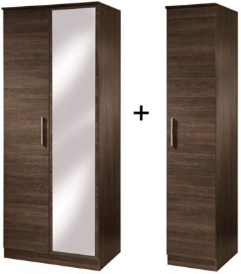 Contrast High Gloss Tall Triple Mirror Wardrobe