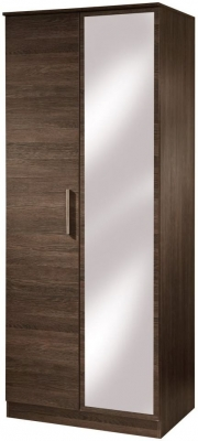 Contrast High Gloss Wardrobe - 2ft 6in Tall Mirror