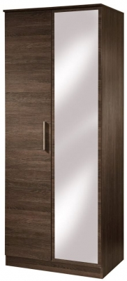 Contrast High Gloss Wardrobe - Tall 2ft 6in with Mirror
