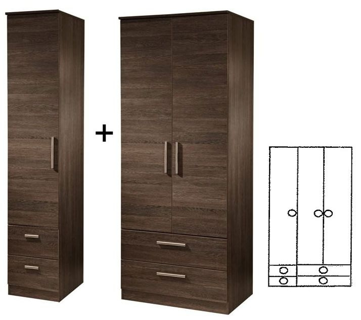 Contrast High Gloss 3 Door Tall Combi Wardrobe with Drawer