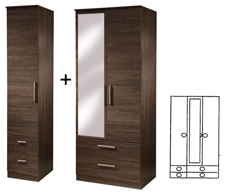 Contrast High Gloss 3 Door Tall Combi Wardrobe with Mirror and Drawer