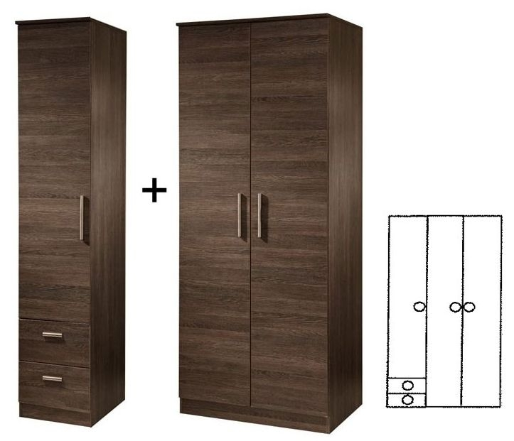 Contrast High Gloss 3 Door Tall Wardrobe with 2 Drawer