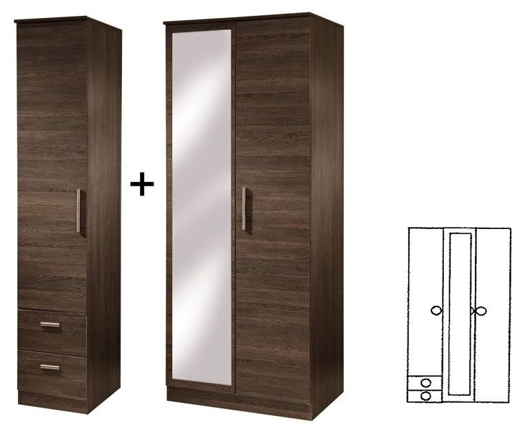 Contrast High Gloss 3 Door Tall Wardrobe with Mirror and Drawer