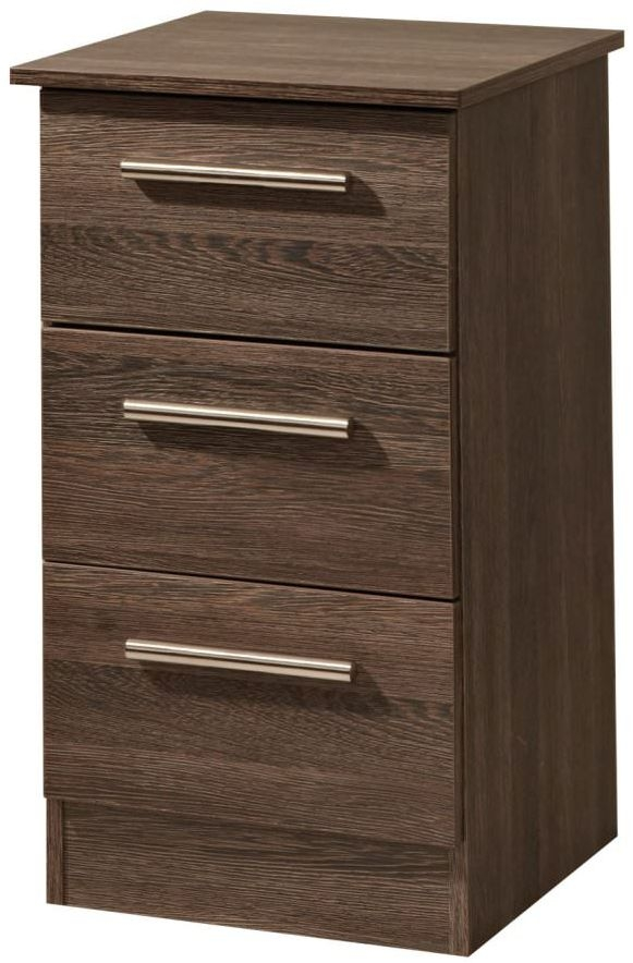 Contrast High Gloss Bedside Cabinet - 3 Drawer Locker