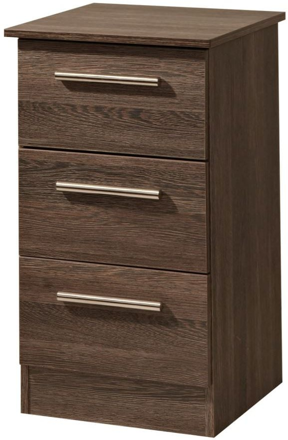 Contrast High Gloss Bedside Cabinet - 3 Drawer