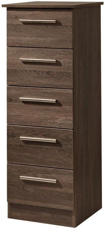 Contrast High Gloss Chest of Drawer - 5 Drawer Narrow