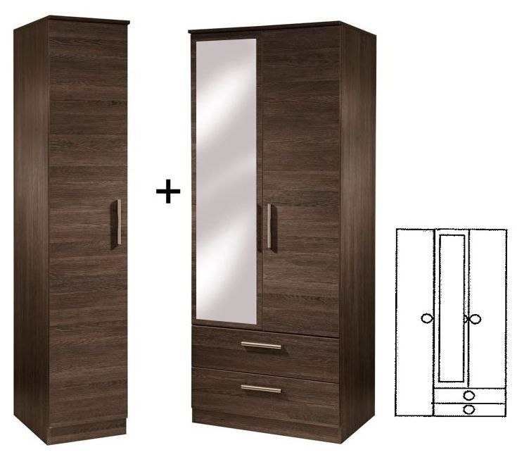 Contrast High Gloss Tall Triple 2 Drawer Wardrobe with Mirror
