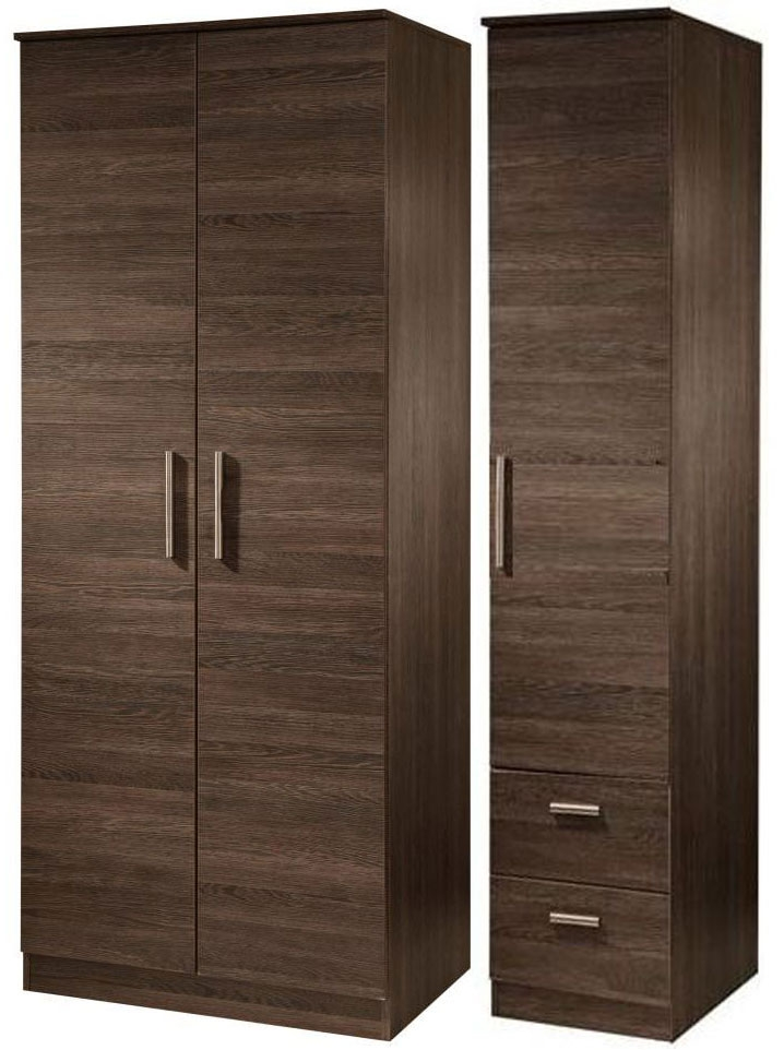 Contrast High Gloss Triple Wardrobe - Tall Plain with 2 Drawer
