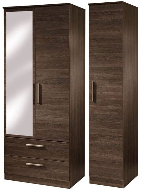 Contrast High Gloss Triple Wardrobe - Tall with 2 Drawer and Mirror