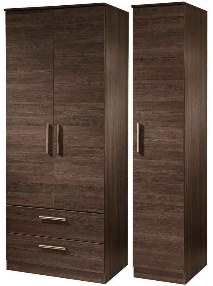 Contrast High Gloss Triple Wardrobe - Tall with 2 Drawer