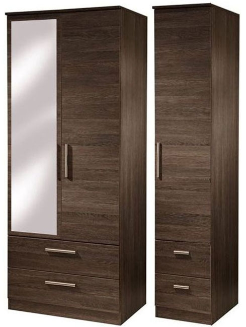 Contrast High Gloss Triple Wardrobe - Tall with Drawer and Mirror