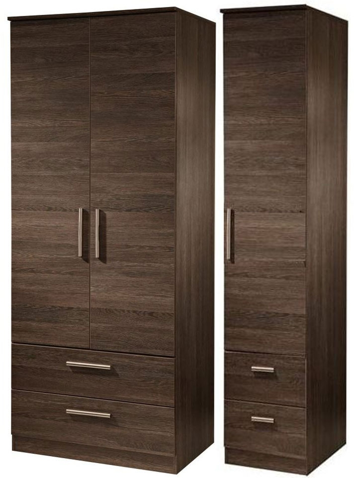 Contrast High Gloss Triple Wardrobe - Tall with Drawer