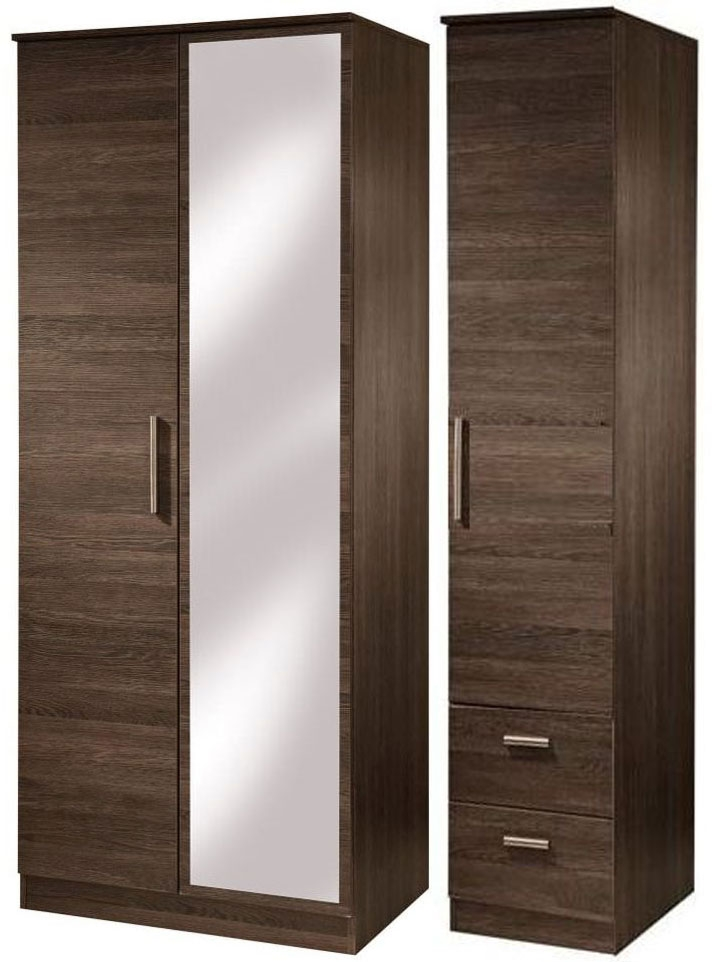 Contrast High Gloss Triple Wardrobe - Tall with Mirror and 2 Drawer