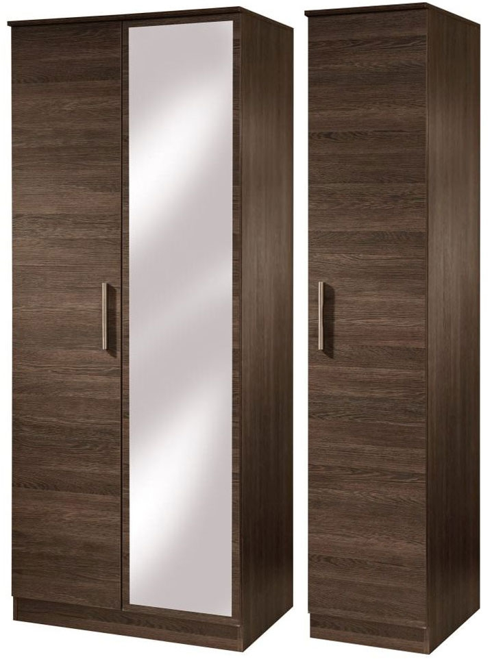 Contrast High Gloss Triple Wardrobe - Tall with Mirror
