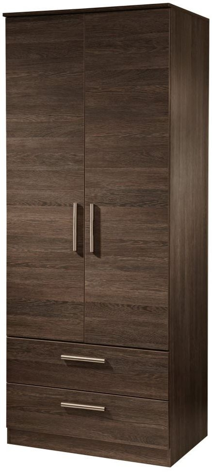 Contrast High Gloss Wardrobe - 2ft 6in Tall 2 Drawer