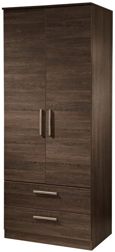 Contrast High Gloss Wardrobe - Tall 2ft 6in with 2 Drawer