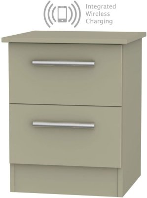 Contrast Mushroom 2 Drawer Bedside Cabinet with Integrated Wireless Charging