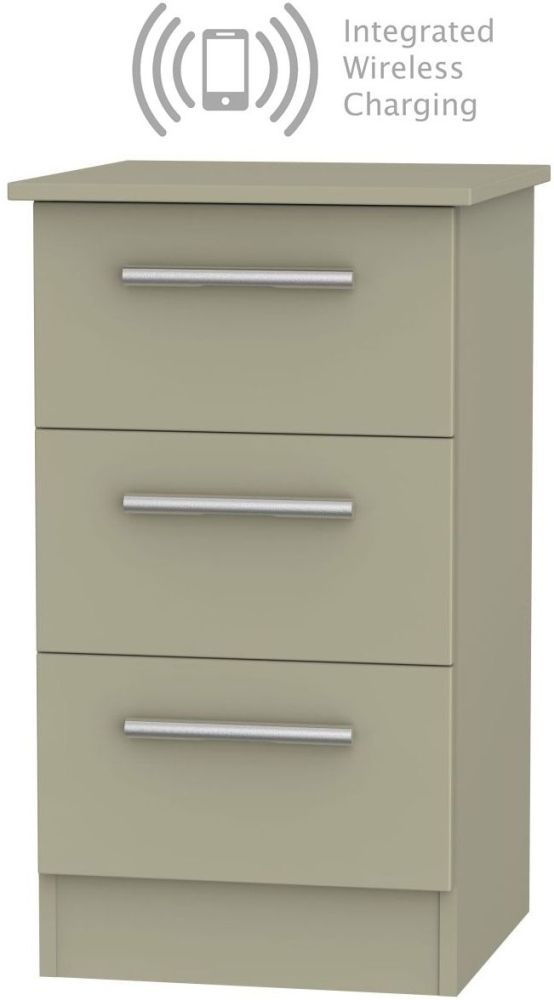 Contrast Mushroom 3 Drawer Bedside Cabinet with Integrated Wireless Charging