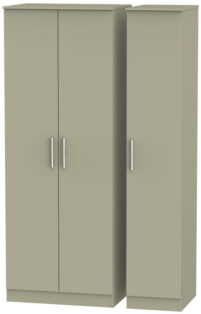 Contrast Mushroom Triple Wardrobe - Tall Plain