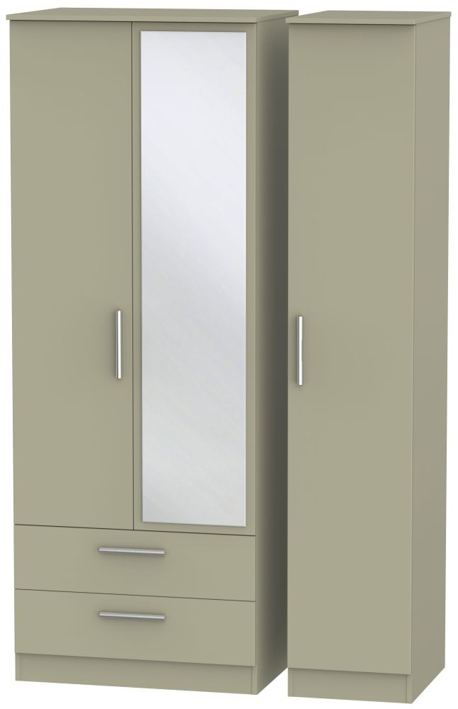 Contrast Mushroom 3 Door 2 Left Drawer Tall Mirror Triple Wardrobe
