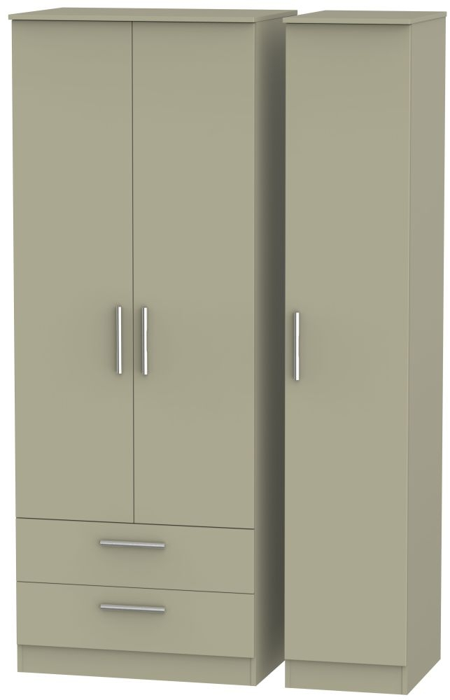 Contrast Mushroom 3 Door 2 Drawer Tall Triple Wardrobe
