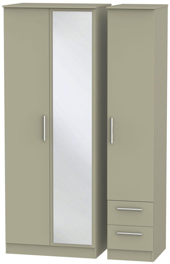 Contrast Mushroom 3 Door 2 Right Drawer Tall Mirror Triple Wardrobe