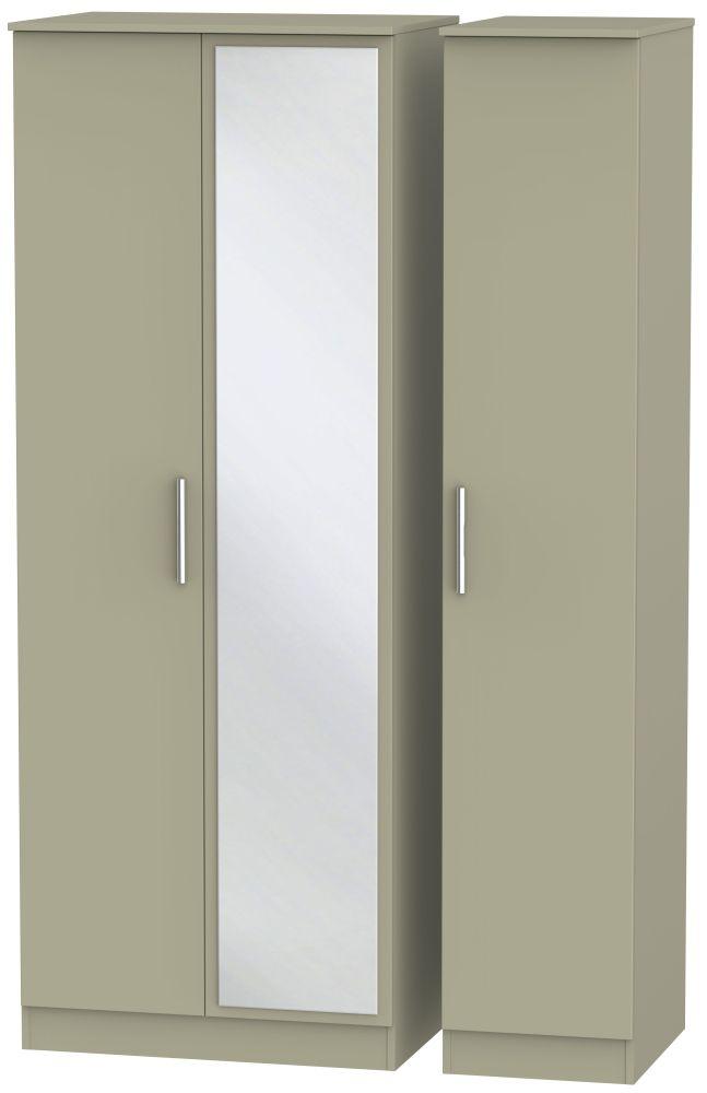 Contrast Mushroom 3 Door Tall Mirror Triple Wardrobe