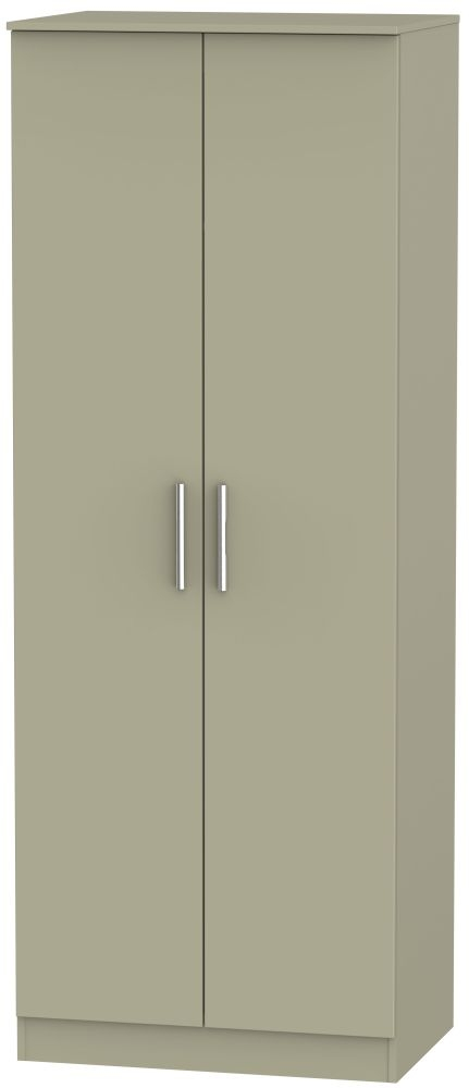 Contrast Mushroom 2 Door Tall Plain Double Wardrobe