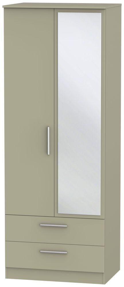 Contrast Mushroom 2 Door 2 Drawer Tall Mirror Double Wardrobe