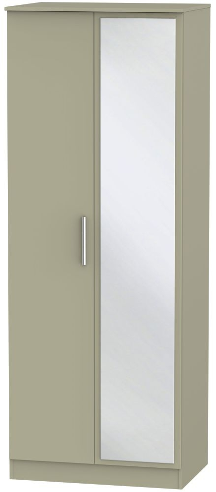 Contrast Mushroom 2 Door Tall Mirror Double Wardrobe