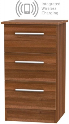 Contrast Noche Walnut 3 Drawer Bedside Cabinet with Integrated Wireless Charging