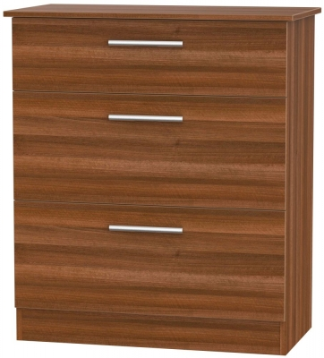 Contrast Noche Walnut 3 Drawer Deep Chest