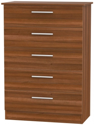 Contrast Noche Walnut 5 Drawer Chest