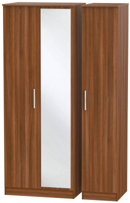 Contrast Noche Walnut 3 Door Mirror Wardrobe
