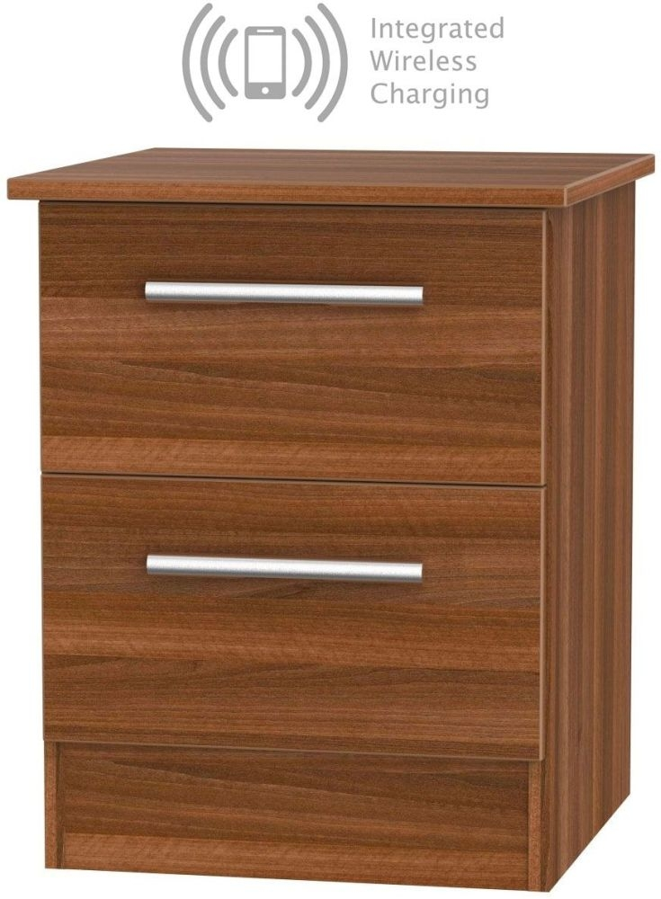 Contrast Noche Walnut 2 Drawer Bedside Cabinet with Integrated Wireless Charging