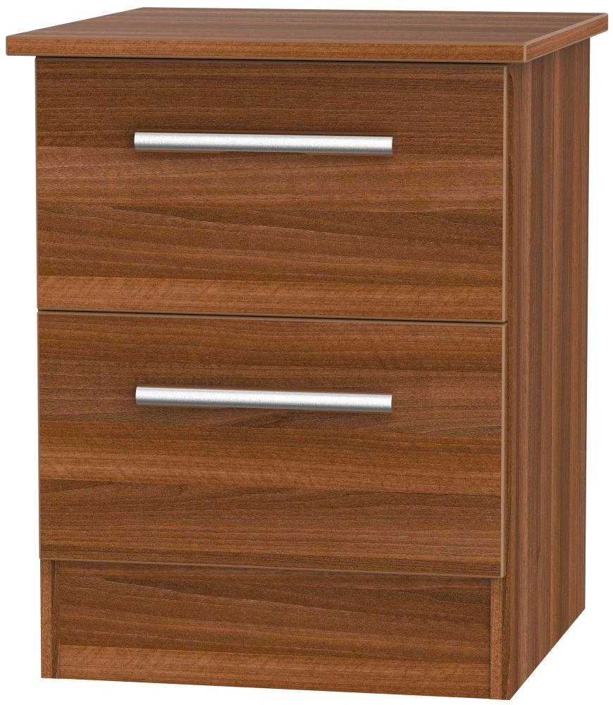 Contrast Noche Walnut 2 Drawer Bedside Cabinet