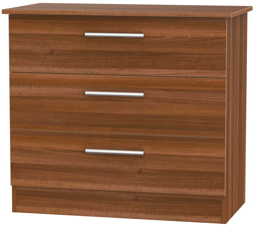 Contrast Noche Walnut Chest of Drawer - 3 Drawer