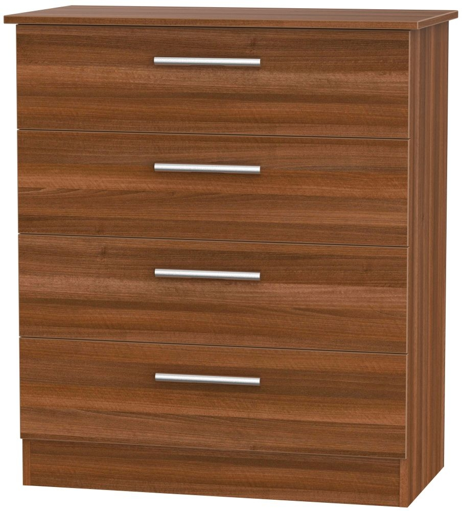 Contrast Noche Walnut 4 Drawer Chest