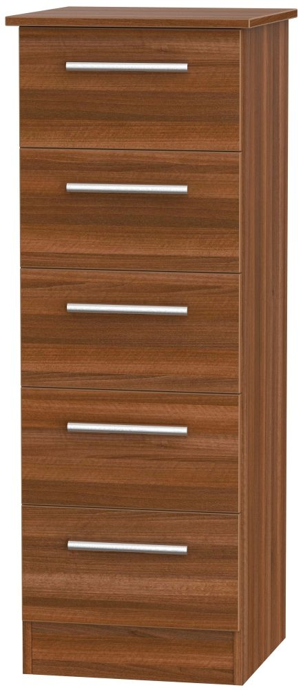 Contrast Noche Walnut Chest of Drawer - 5 Drawer Locker