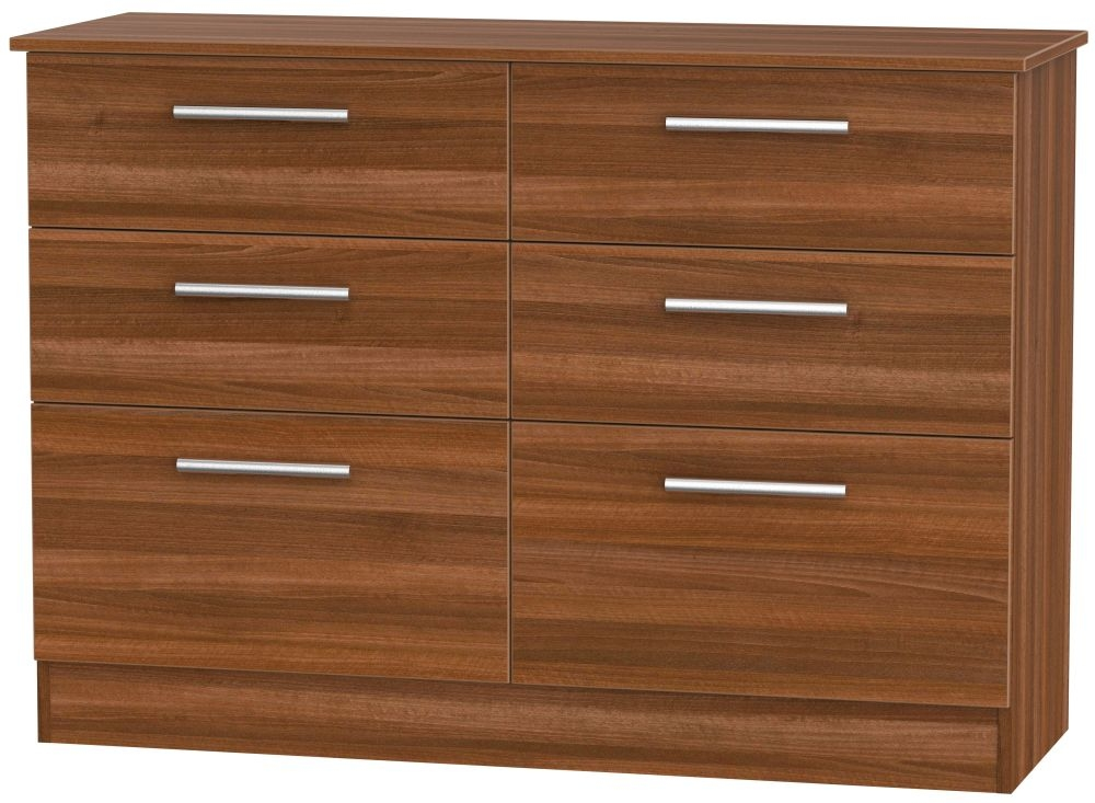 Contrast Noche Walnut Chest of Drawer - 6 Drawer Midi