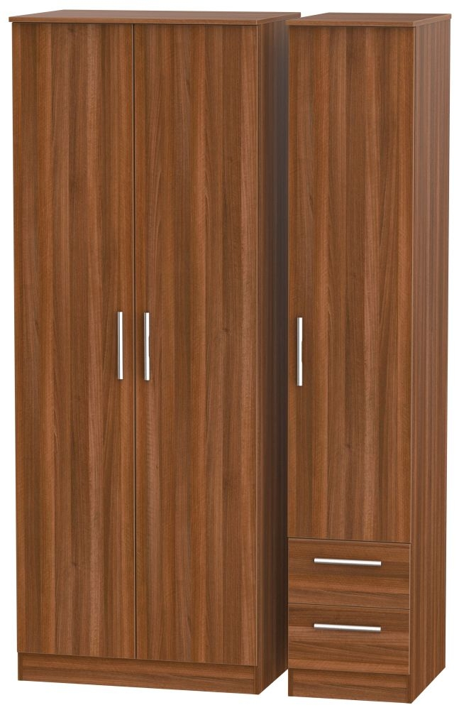 Contrast Noche Walnut 3 Door 2 Drawer Tall Plain Triple Wardrobe