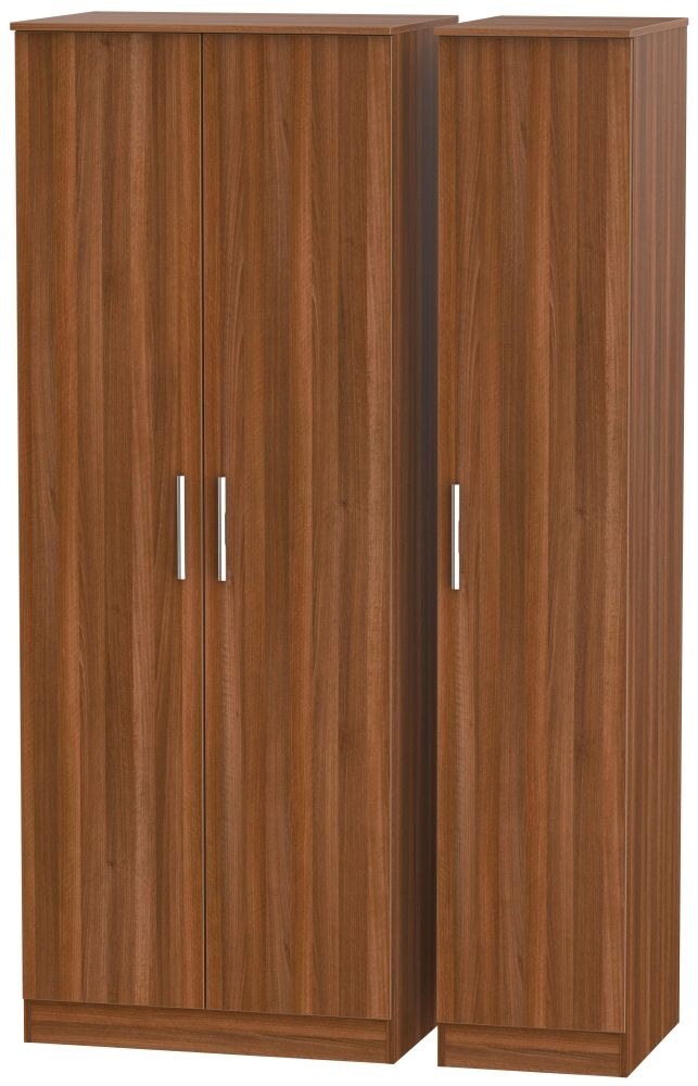 Contrast Noche Walnut 3 Door Tall Plain Triple Wardrobe