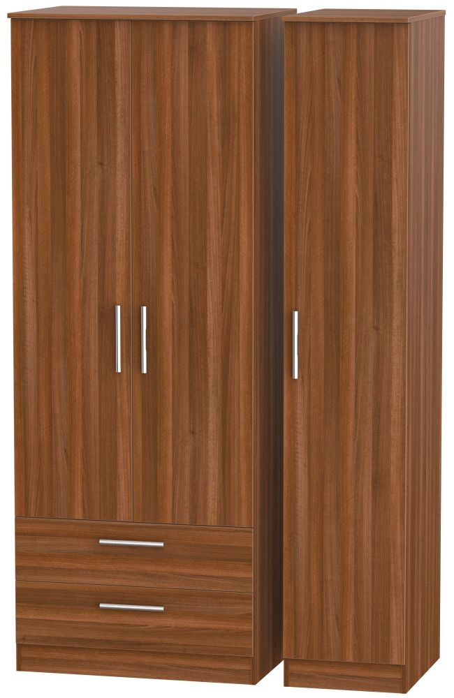 Contrast Noche Walnut 3 Door 2 Drawer Wardrobe