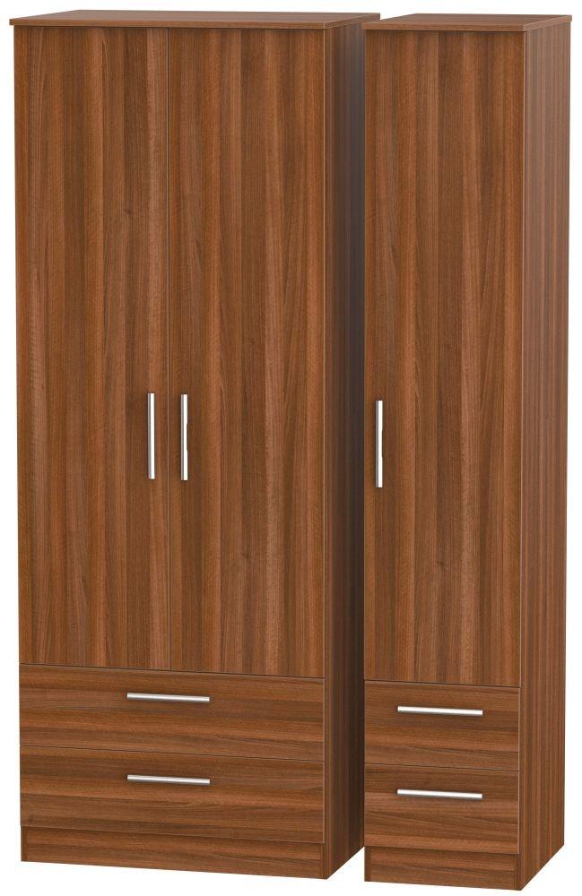 Contrast Noche Walnut 3 Door 4 Drawer Tall Triple Wardrobe