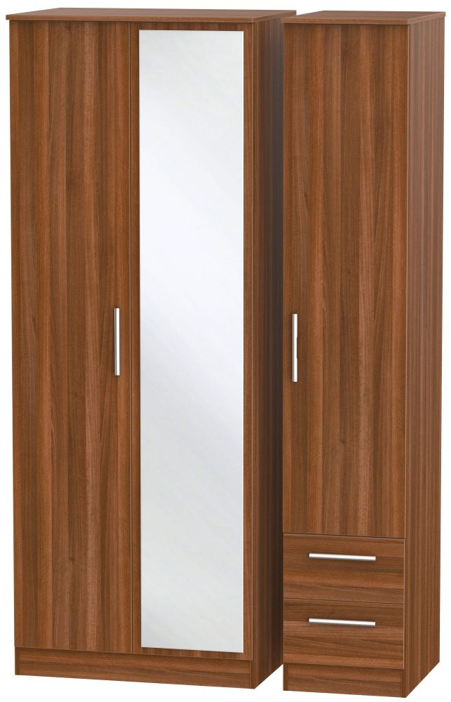Contrast Noche Walnut 3 Door 2 Right Drawer Tall Mirror Triple Wardrobe