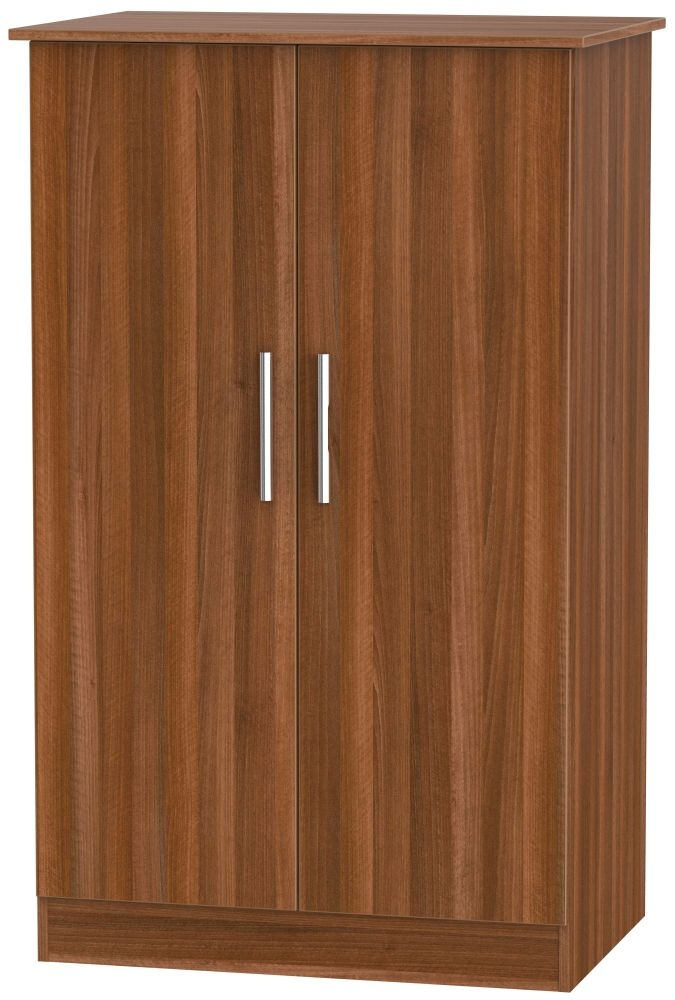 Contrast Noche Walnut Wardrobe - 2ft 6in Plain Midi