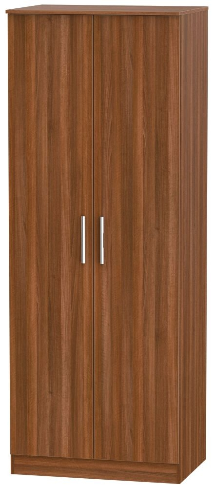 Contrast Noche Walnut 2 Door Tall Plain Double Wardrobe