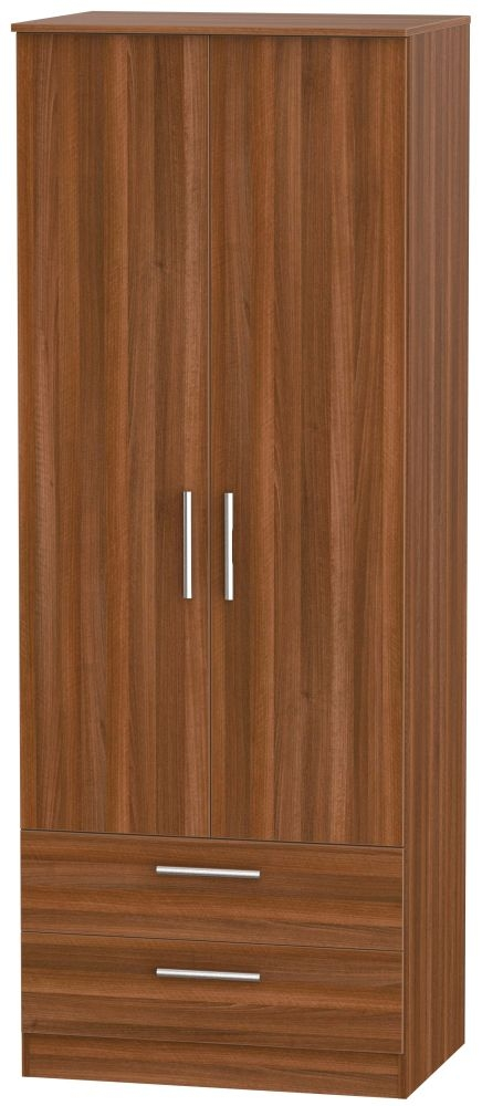 Contrast Noche Walnut 2 Door 2 Drawer Wardrobe