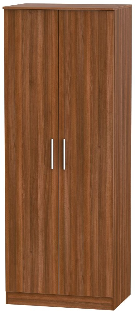Contrast Noche Walnut 2 Door Tall Double Hanging Wardrobe
